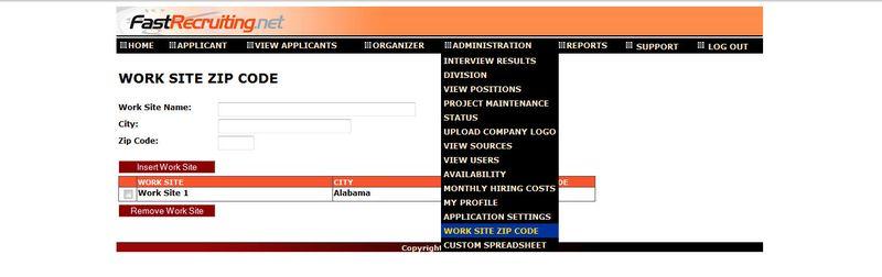 Work site zip admin image